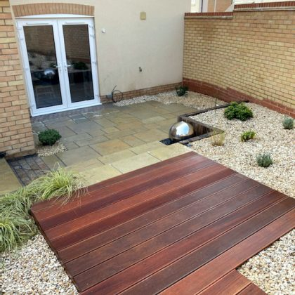 Hardwood Decking in Modern Garden