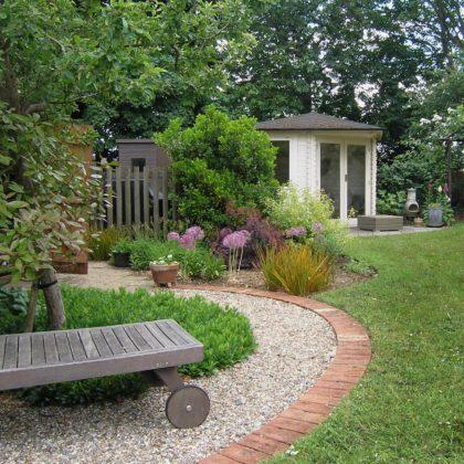 JJ Garden Designs Suffolk - path to summerhouse